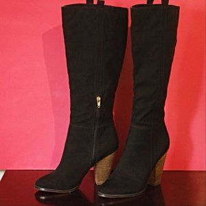 Charles David Pull On Heeled Black Suede Boots